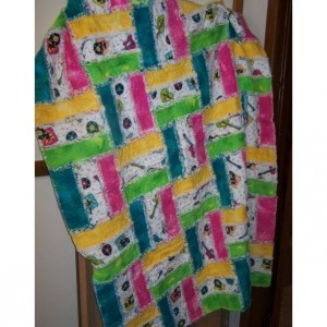 Bright Music Themed Flannel Rag Lap Quilt
