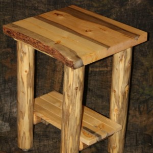 Rustic Log Live Edge Bark On Top End Table / Night Stand - Cabin, Lodge Log Furniture -FREE SHIPPING