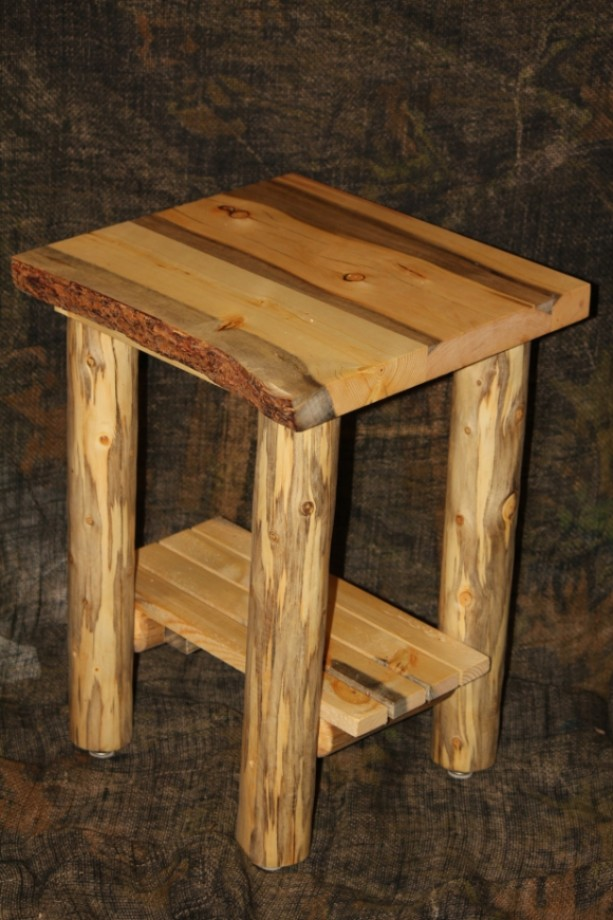Rustic Log Live Edge Bark On Top End Table Night Stand