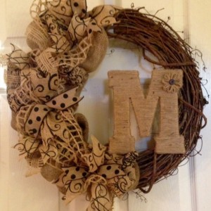 Summer Wreath Burlap Wreath Grapevine Wreath Monogram Wreath