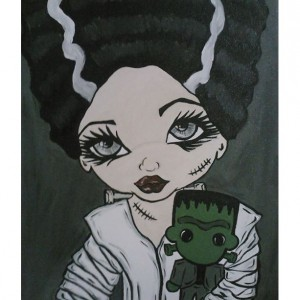 Big Eyed Beauties Bride of Frankenstein acrylic canvas painting