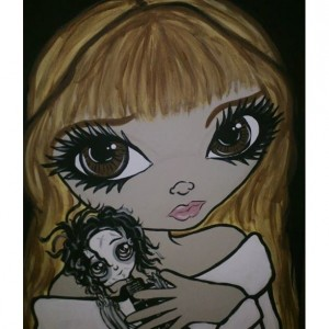 Big Eyed Beauty Kim & Edward Scissorhands painting on Canvas 16x20