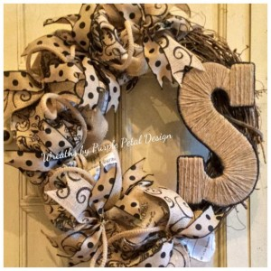 Summer Wreath Burlap Wreath Grapevine Wreath Monogram Wreath Wreaths