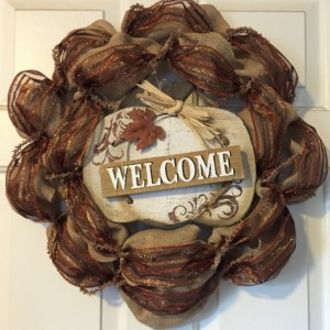 """Welcome"" Burlap/Ribbon"