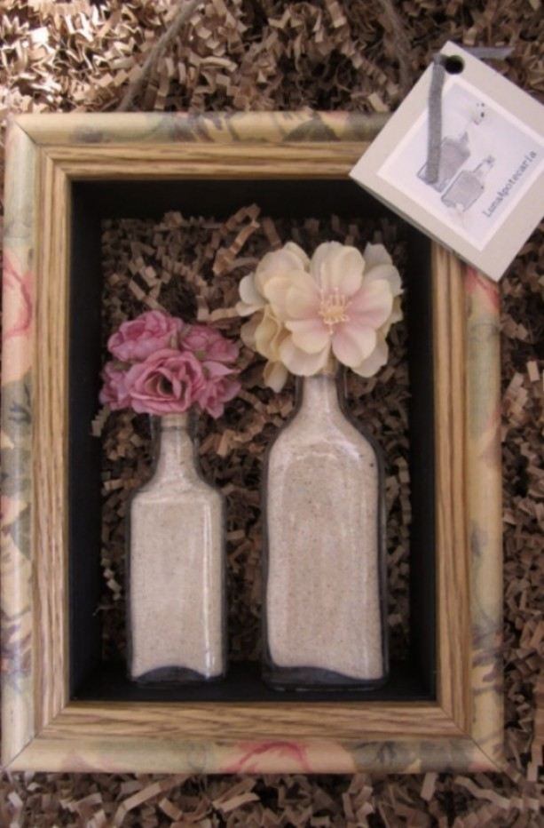 Sold Floral Frame Display And Apothecary Antique Glass Bottle Aftcra