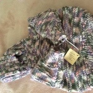 Hooded baby sweater zips up the back-size Newborn-6 month