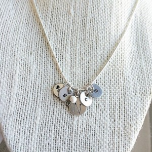 Family Initial Necklace on a Sterling Silver Solid Chain