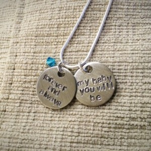 Forever and always my baby you will be necklace on a sterling silver chain and a colored bead