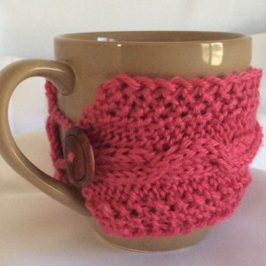 Pink Knitted Coffee Cup Cozy