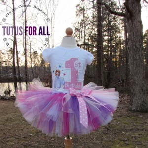 Pink and purple sofia the first first birthday tutu set
