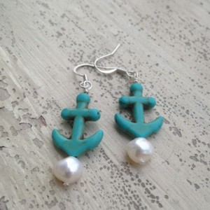 Turquoise Anchor Earrings with Freshwater Pearls and Optional Hypoallergenic Hooks
