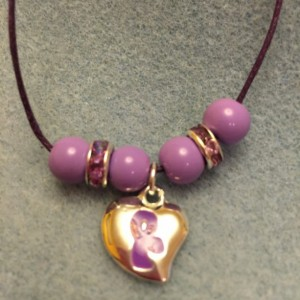 Puffy Purple Ribbon Charm Necklace