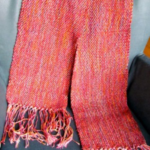 red handwoven scarf