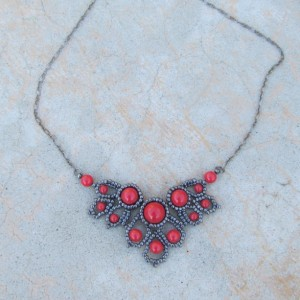 Gunmetal and Red Beaded Filigree Necklace