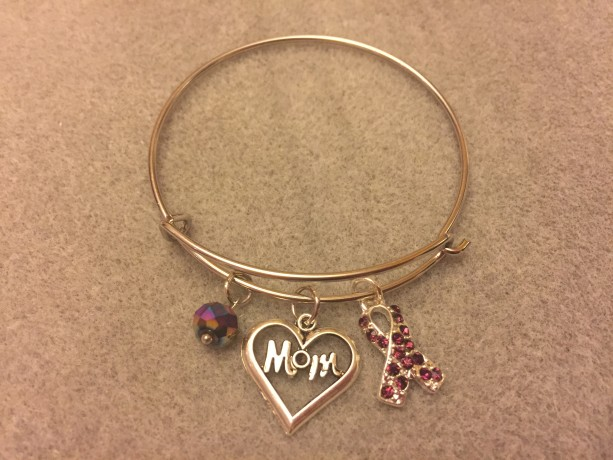 Mom Bracelet w/ Sparkly Purple Ribbon Charm