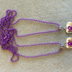 Puffy Purple Ribbon Charm with Purple Chain Necklace