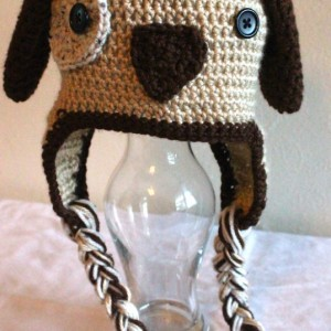Brown and tan puppy dog earflap hat