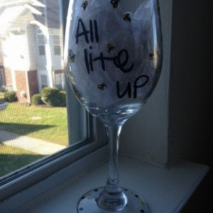 All Lite Up Summer Firefly Hand Painted Wine Glass