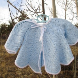 40s Style Pale Blue Ripple Baby Sweater