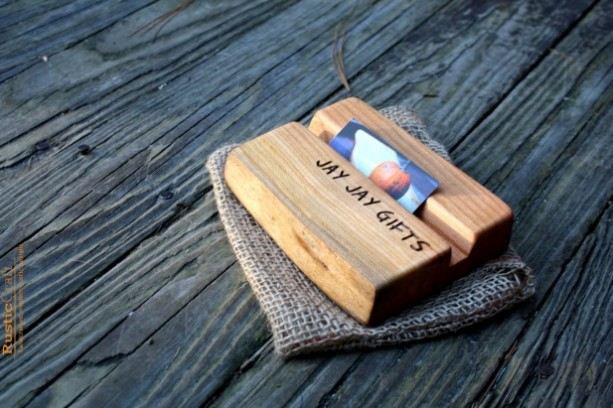 personalized business card holder - rustic wood