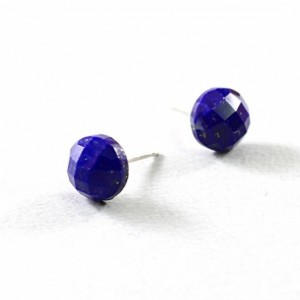 Lapis lazuli earrings, sterling silver blue studs, gemstone