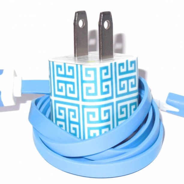 Light Blue Greek Key Cell Phone Charger