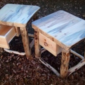 2 Rustic Night Stands Reclaimed Beetle Kill Wood