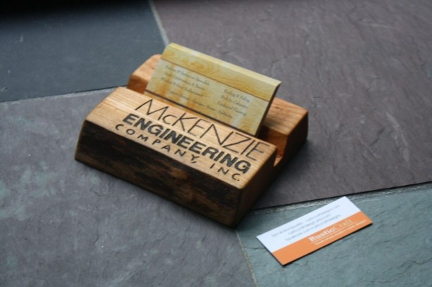 Personalized Business Card Holder Rustic Wood Fathers