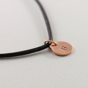 Personalized mens necklace, initial necklace for men, copper and black leather