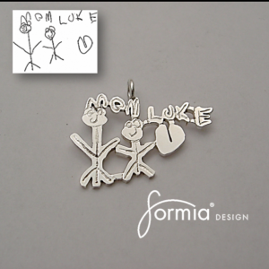 Silver pendant from your own child's artwork (1 inch)