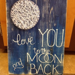 SALE String Art Moon I Love You to the Moon and Back, Nursery Wall Hanging, Home Decor, Unique Baby Shower Gift