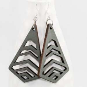 Wood Earrings - Chevron Cutouts (Gray)