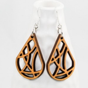 Wood Earrings - Geometric Teardrop (Yellow)