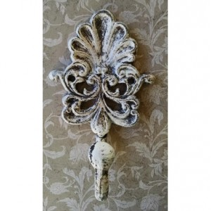 French Country / Shabby Chic Ornate White Forged Metal Wall Hook