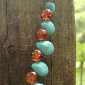 Turquoise and Glass Bead Necklace
