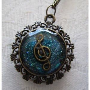 Music In The Sky Bronze Tone Pendant