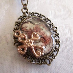 Jesus and Mary with Golden Cross Postage Stamp Bronze Pendant
