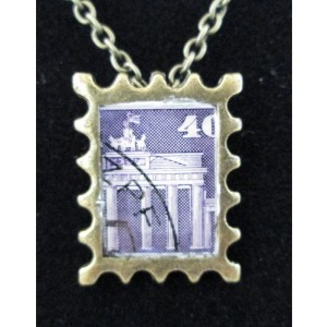 Purple German Architecture postage Stamp Bronze Tone Pendant