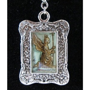 Angel Statue Postage Stamp Silver Tone Pendant / Necklace