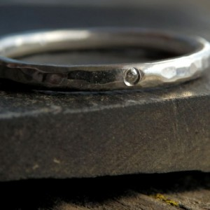 Simple sterling and certified conflict free diamond ring