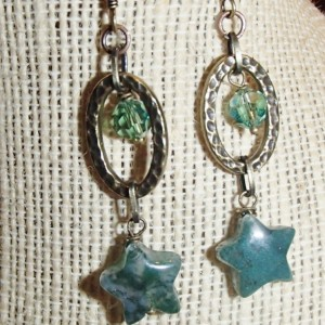 Hammered Oval and Star Earrings