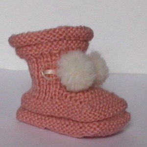 Baby Newborn ( Infant) Girl 0 -3 Month Booties - Italian Extra Fine Merino Wool