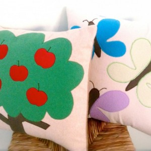 Cashmere Pillow Cover - Apple Tree applique - Made to Order - perfect for kid's room decor - made from upcycled cashmere sweaters