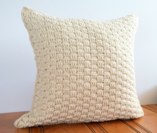 Wool Throw Pillow Cover 16x16, Rustic Cream Pillow Cover, Texture aftcra