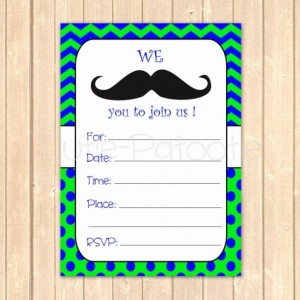 Ready to Print Mustache Birthday Party Event Invitation