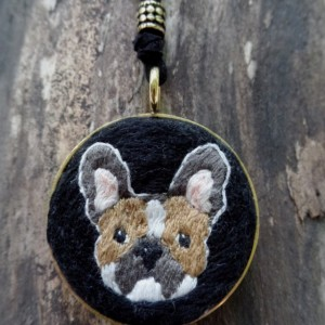 French Bulldog Unique Hand Embroidered Necklace