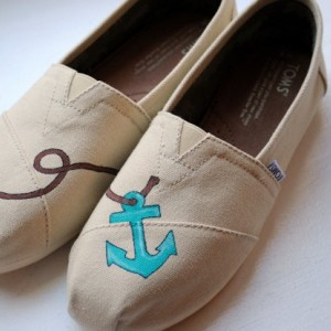 Simple Anchor Womens Custom Hand Painted TOMS Anchor Design on Natural Canvas shoes