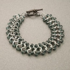 Frosted Grey & Silver Beaded Chainmaille Lace Bracelet