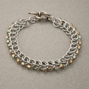 Edgy - Pale Blue, Gold & Silver Beaded Chainmaille Bracelet