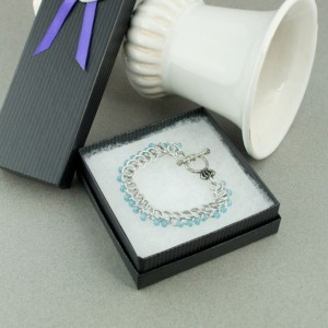 Edgy - Ice Blue & Silver Beaded Chainmaille Bracelet